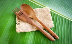 Picture green, background, leaf, minimalism, spoon, plug, wooden, burlap, napkin, Cutlery
