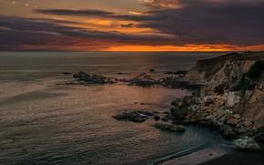 Picture sea, sunset, clouds, stones, rocks, shore, coast, the evening, horizon