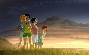 Picture sea, grass, sunset, girls, meadow, Shop Tamako, Tamako Market