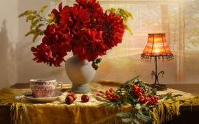 Picture flowers, lamp, Cup, still life, table, Rowan, bunches, dahlias, apples, Valentina Fencing