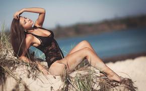 Picture sand, beach, grass, girl, pose, hands, figure, closed eyes, Alexander Burdov