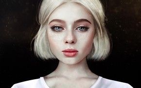 Picture Girl, Look, Blonde, Lips, Face, Eyes, Portrait, Art, Illustration, Characters, Anne Novik, by Anne Novik