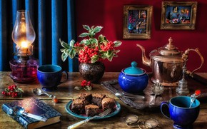 Picture style, berries, lamp, kettle, glasses, pictures, book, cake, mugs, plug, still life, sugar bowl, hawthorn, …