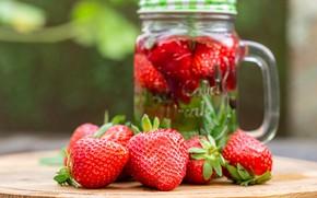 Picture berries, strawberry, mug, lemonade