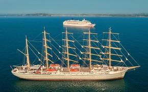 Picture sailboat, liner, RAID