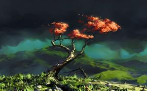 Picture Tree, Mountains, Figure, Landscape, Art, Illustration, Roman Avseenko, by Roman Avseenko, Another Tree