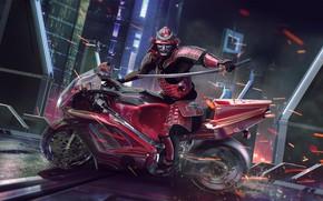 Picture Moto, Samurai, warrior, Sci Fi