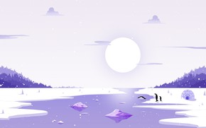 Picture The sun, Winter, Minimalism, River, Snow, Ice, Penguins, Landscape, Ice, Penguin, Needle