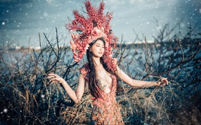 Picture chest, the sky, girl, light, flowers, branches, nature, style, thickets, treatment, crown, hands, figure, dress, …