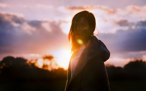 Picture girl, the sun, sunset, nature