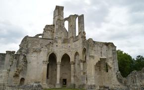 Picture the sky, clouds, clouds, overcast, France, ruins, architecture, Abbey, Ile de France