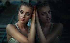 Picture look, girl, reflection, makeup, braids, Rus, Janusz Żołnierczyk