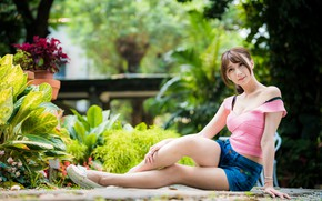Picture greens, trees, flowers, sexy, pose, model, shorts, makeup, garden, Mike, figure, hairstyle, shoes, brown hair, …