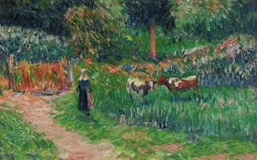 Picture landscape, picture, Henri Sea, Cowgirl, Henry Moret, Shepperdess of the Cows