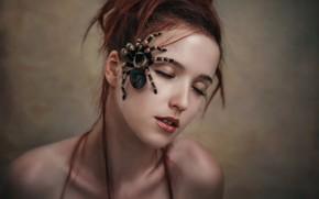 Picture girl, face, spider, Andrey Vasilyev, Anna Larionova