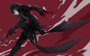 Picture smile, gun, jump, the game, anime, mask, art, guy, character, Person 5, Persona 5