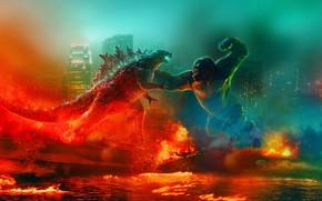 Picture King Kong, Monkey, Fire, King Kong, Ships, Battle, Two, Godzilla, Godzilla, Gorilla, 2021, Годзилла против …