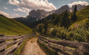 Picture road, mountains, the fence