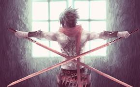 Picture guy, swords, katana, kunai, laser tattoo