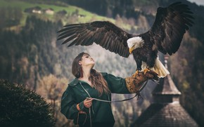 Wallpaper forest, girl, mountains, nature, pose, the dark background, bird, eagle, portrait, wings, hands, jacket, brown ...