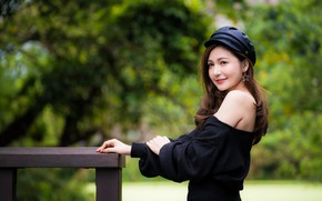 Picture girl, smile, cap, Asian, bokeh