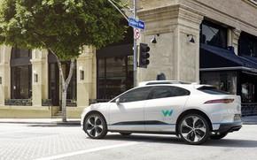 Picture the city, house, tree, building, Jaguar, Greens, day, hybrid, Traffic light, electric car, Jaguar I-Pace …