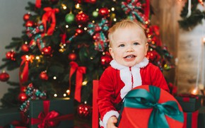 Picture gift, tree, baby, Christmas