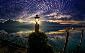 Picture landscape, sunset, mountains, nature, boats, Switzerland, lantern, Lake Thun, Thunersee