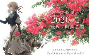 Picture letter, characters, art, in profile, red flowers, garden flowers, Violet Evergarden, violet evergarden, Akiko Takase