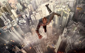 Picture the city, height, home, roof, Skyscraper, Thriller, poster, skyscrapers, Dwayne Johnson, Dwayne Johnson, Skyscraper