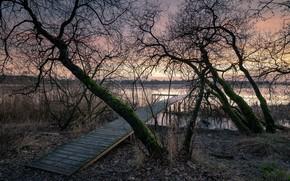 Picture sunset, bridge, lake