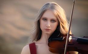 Picture look, girl, face, background, violin, portrait, Sergei Mihov, Настя Аспиратова