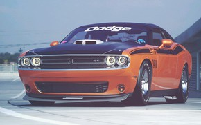 Picture Auto, Machine, Orange, Dodge, Challenger, Dodge Challenger, Muscle car, Rendering, The front, Transport & Vehicles, …
