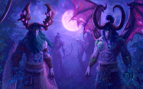 Picture Figure, The game, The moon, Wings, Elf, Elves, Illidan, The demon, WOW, Stormrage, Warcraft, Horns, …