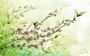Picture greens, flowers, mood, plant, tale, spring, morning, art, picture, the watercolor drawing, spring fantasy, melody …