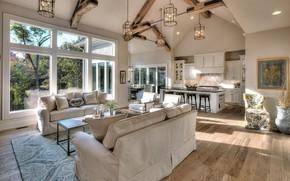 Picture design, space, Villa, interior, kitchen, living room, dining room, luxury villa
