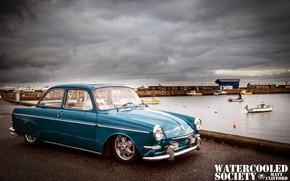 Picture Volkswagen, Car, Blue, Old, Notchback