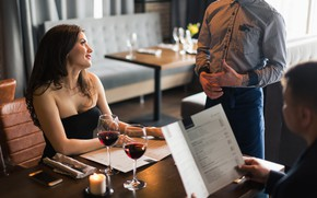 Picture love, couple, menu, romantic dinner, waiter