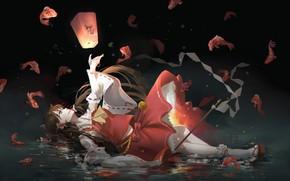 Picture girl, anime, art, flashlight, Touhou