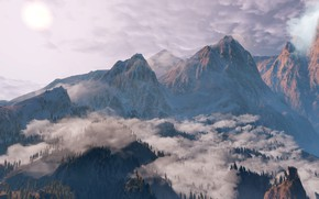 Picture Clouds, Mountains, Snow, Forest, The Witcher, The Witcher, The Witcher 3 Wild Hunt, The Witcher …