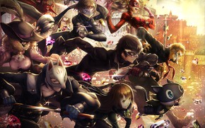 Picture the game, anime, art, characters, Person 5, Person