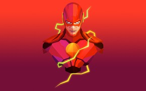 Picture red, background, fiction, mask, art, sparks, costume, comic, Flash, The Flash
