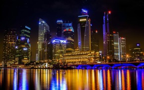 Picture water, the city, lights, reflection, color, building, Thailand, Bangkok
