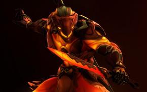 Picture rendering, sword, warrior, costume, helmet, overwatch, Genji Shimada, genji