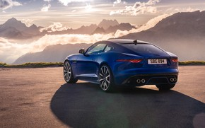 Picture sunset, mountains, Jaguar, rear view, F-Type, F-Type R, 2021