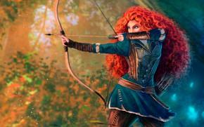 Picture forest, girl, pose, figure, cartoon, bow, Archer, art, arrow, red, arrows, Princess, quiver, bokeh, princess, …