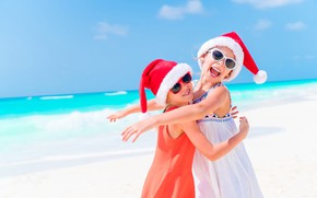 Picture sea, beach, joy, children, pose, mood, stay, shore, coast, girls, Christmas, girl, New year, resort, …