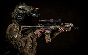 Picture weapons, background, soldiers, helmet