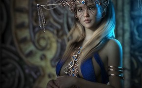 Picture chest, girl, decoration, rendering, crown, blonde, costume, outfit, Princess, headdress