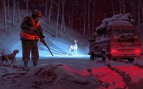Picture winter, machine, snow, hunter, unicorns